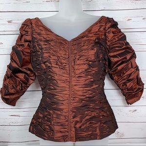 Chetta B Evening Blouse Ruched 3/4 Sleeve Silk